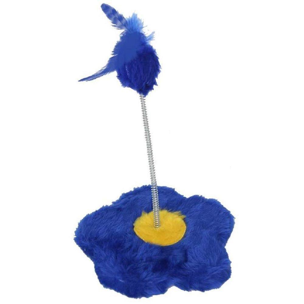Brinquedo de gato Arranhador com chocalho Flor Pelúcia São Pet 18x19cm Azul
