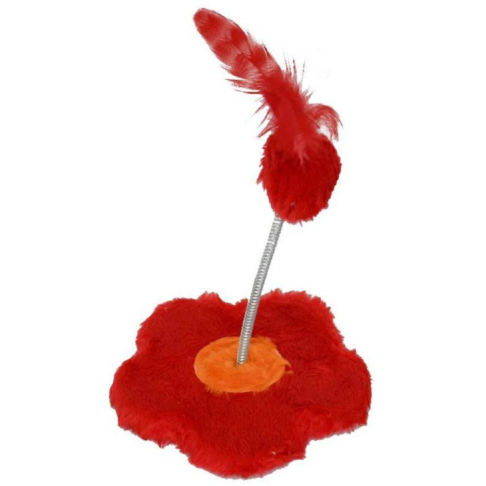 Brinquedo de gato Arranhador com chocalho Flor Pelúcia São Pet 18x19cm Vermelho