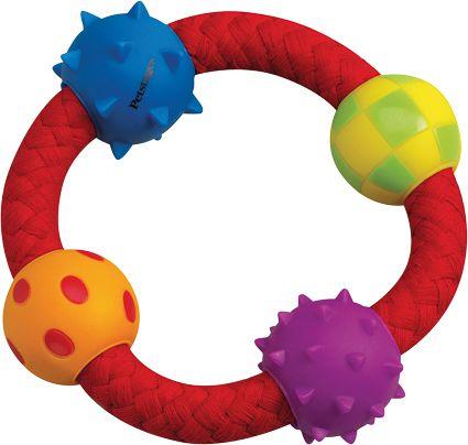 Brinquedo para cachorro Anel Argola Interativa multi texturas corda com bolinhas Chalesco Multi Texture Chew Ring Petstages