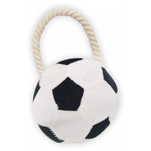 Brinquedo para cachorro Bola de Futebol pelúcia com puxador de corda The Pet's Brasil