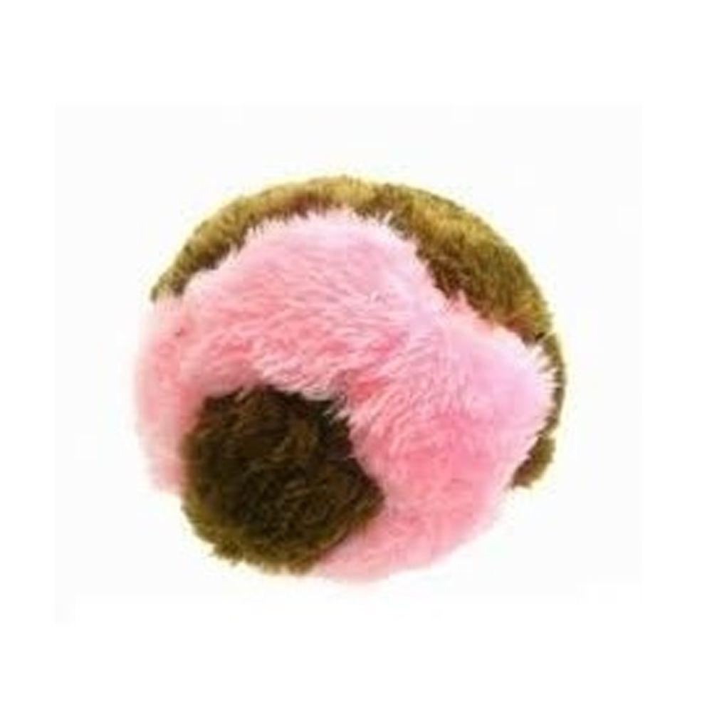 Brinquedo para cachorro Bolinha de Pelúcia (Bola de pelúcia sonora ao apertar) Chalesco Rosa/Marrom