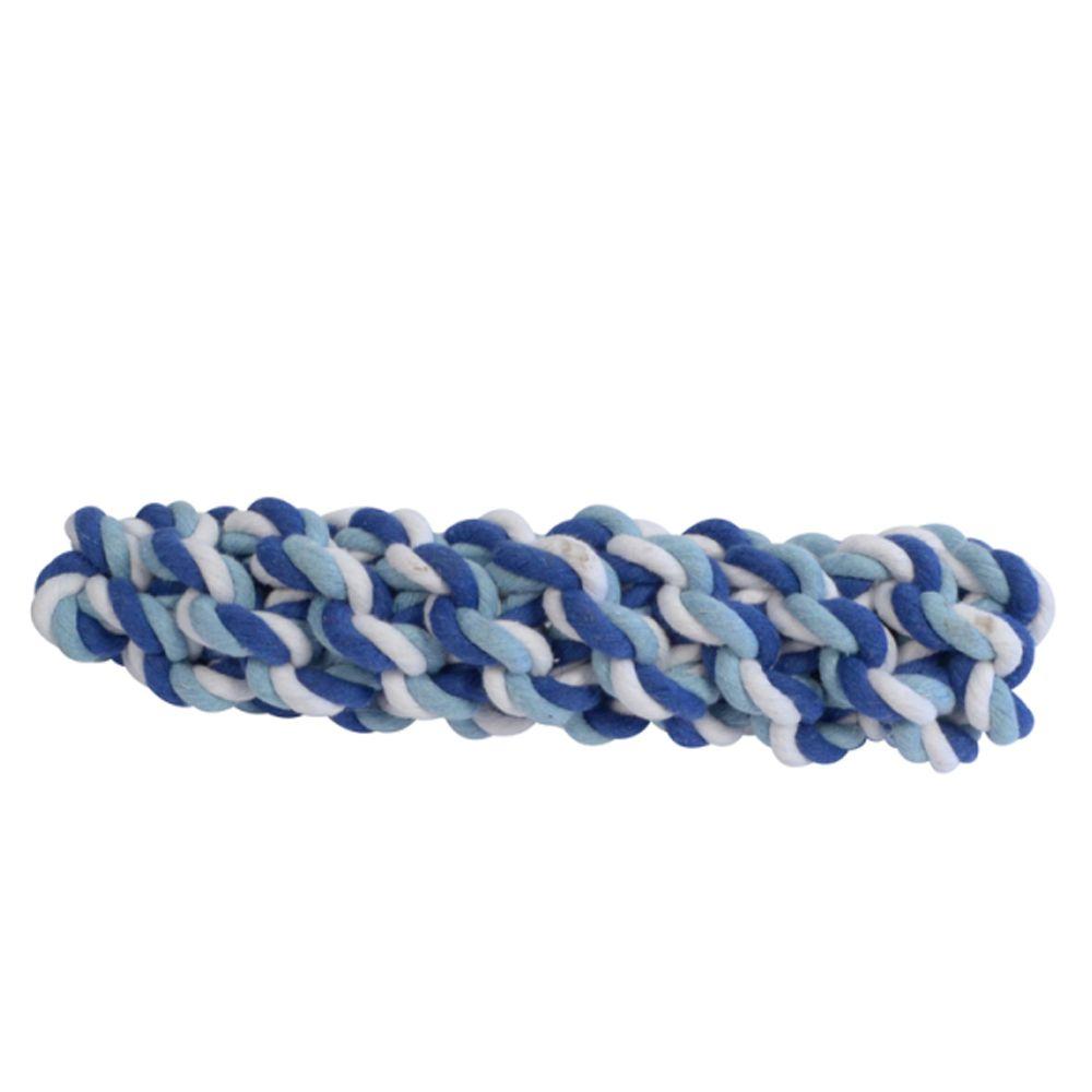 Brinquedo para cachorro Mordedor Sticker Grande Corda Pet Flex 24cm x 5,5cm Azul/Branco