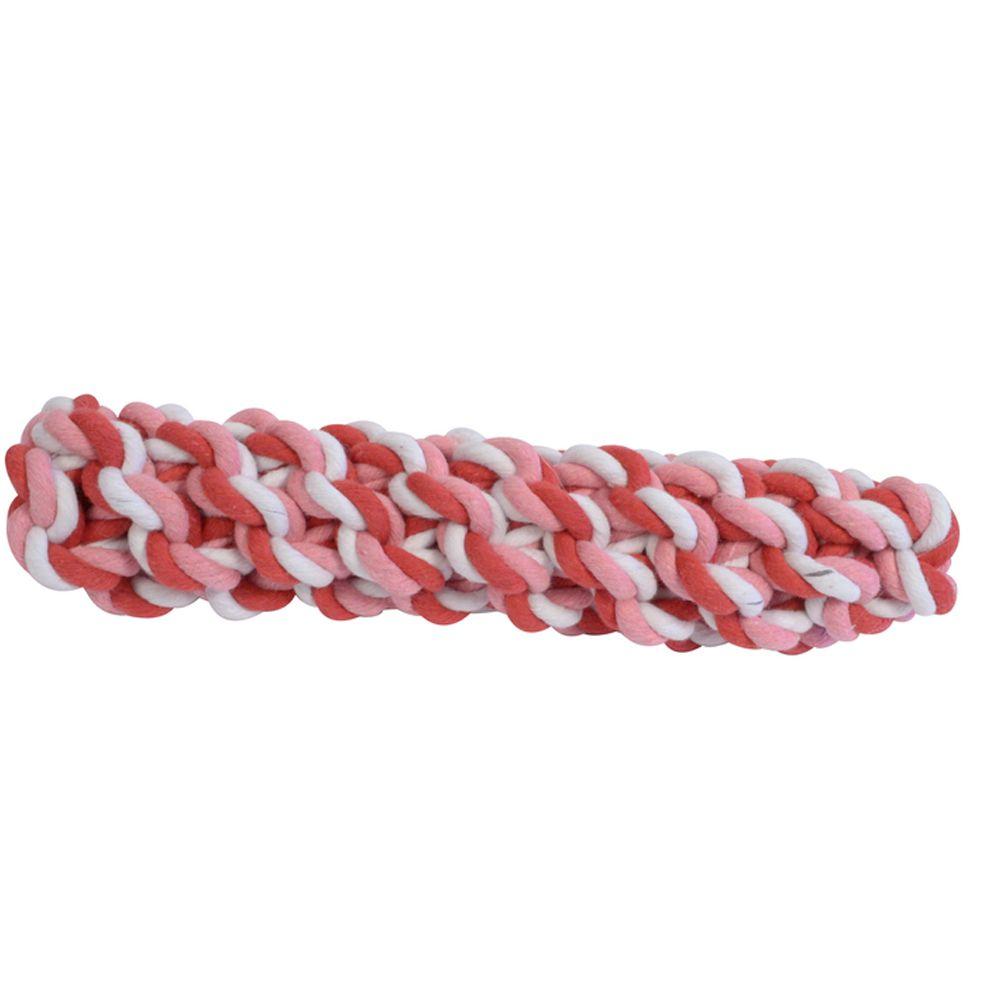 Brinquedo para cachorro Mordedor Sticker Grande Corda Pet Flex 24cm x 5,5cm Rosa/vermelho