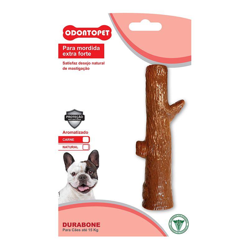 Brinquedo Mordedor de cachorro super resistente Odontopet Durabone Tronco sabor carne Mordida Extra Forte Cães até 15 Kg