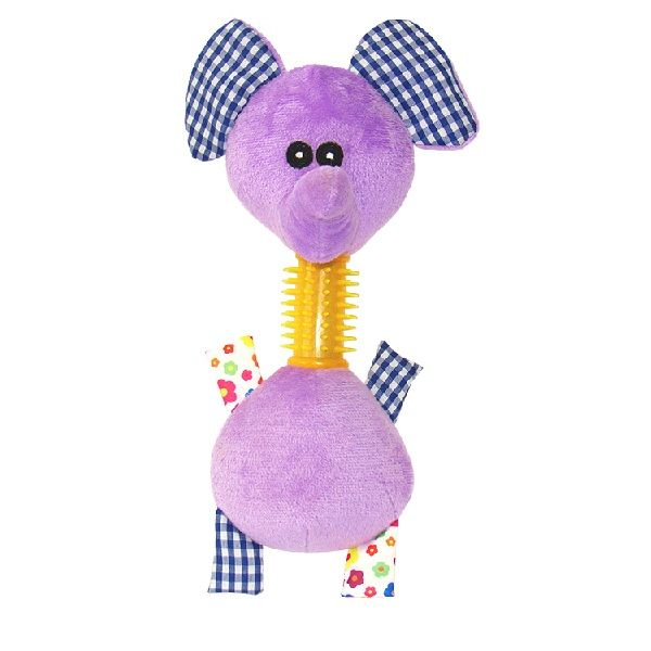 Brinquedo para cachorro - Pelúcia Com mordedor Elefante Sonoro Roxo Da Savana Pet