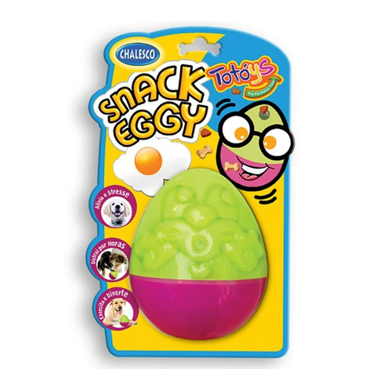 Brinquedo Interativo para Cachorro: Snacl Eggy Chalesco serve para colocar petisco e ração na parte interna e ele libera conforme o cão brinca