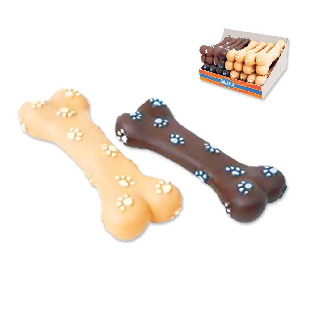 Brinquedo para cachorro ossinho mordedor sonoro Chalesco - Osso com flexibilidade a mordida do cão
