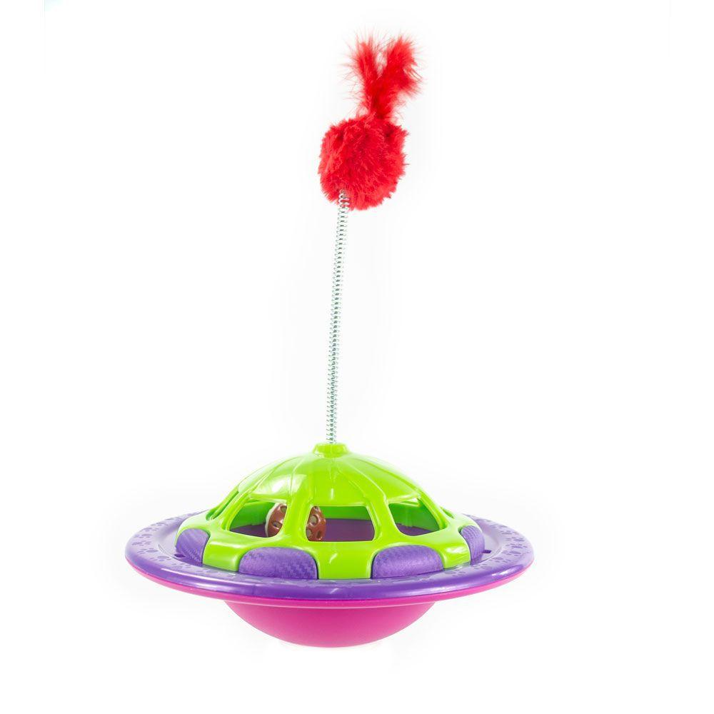 Brinquedo para Gato interativo estilo joão bobo e libera petisco para gatos Navcat Truqys Roxo e Verde