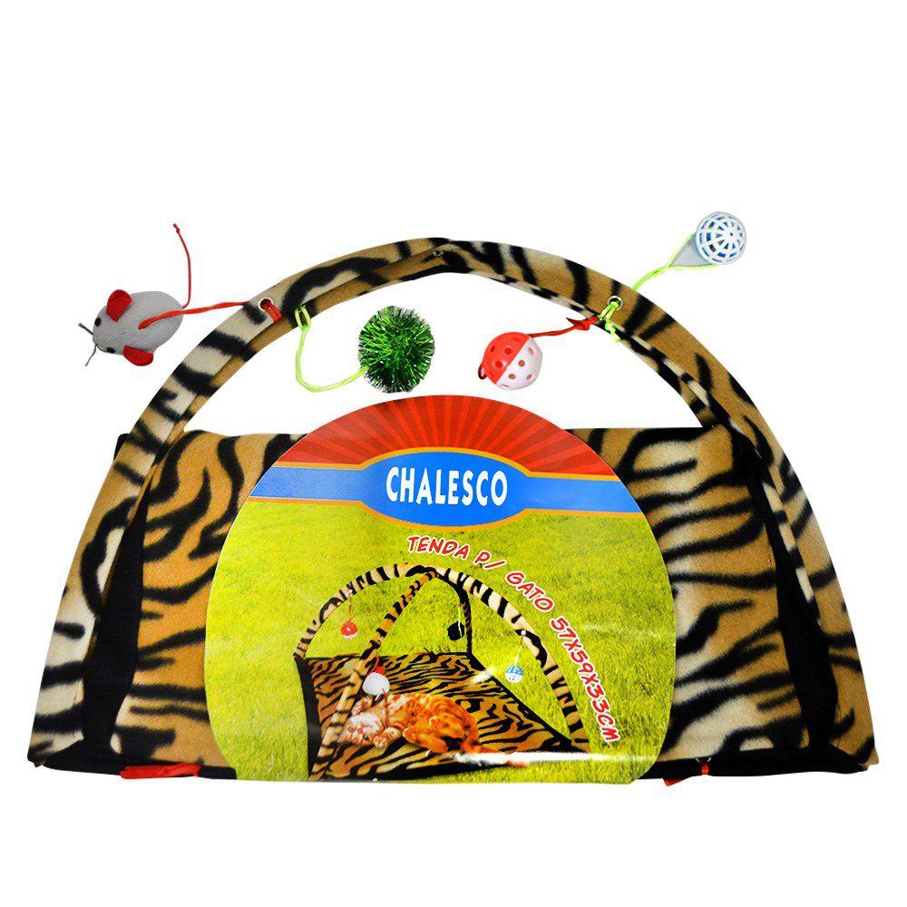 Brinquedo para gato Tenda com bolinhas, pêndulos e brinquedos para Gato Chalesco Cor Tigre