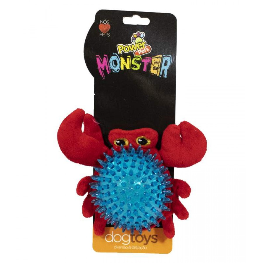 Brinquedo Pelúcia Para Pets Monster Plush Caranguejo PowerPets
