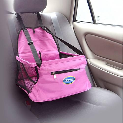 Cadeirinha de transporte para cachorro e gato Assento para Banco de Carro Car Seat Chalesco Rosa
