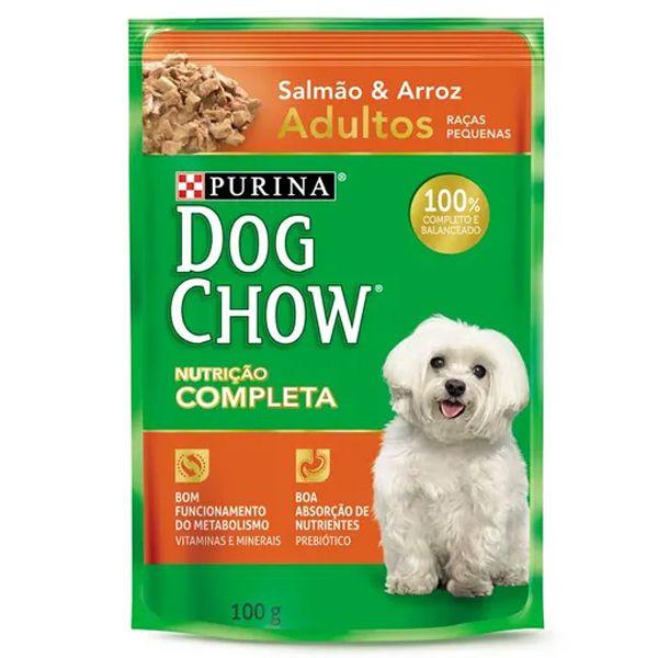 Alimento úmido para cães Dog Chow Adulto Salmão e Arroz Sachê 15 x 100g