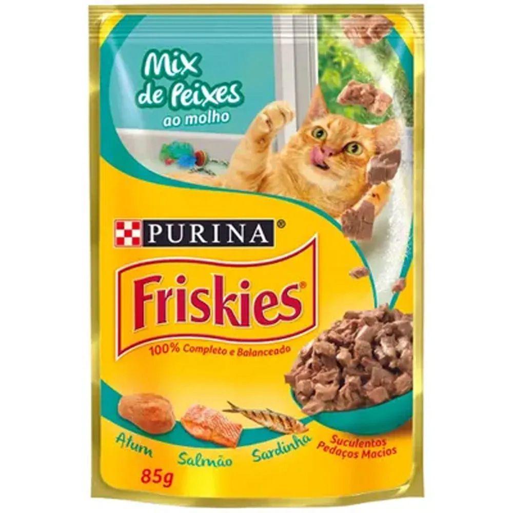 Caixa Sachê Para Gatos Friskies mix de peixes ao molho - Alimento úmido para gatos caixa 15 x 85g