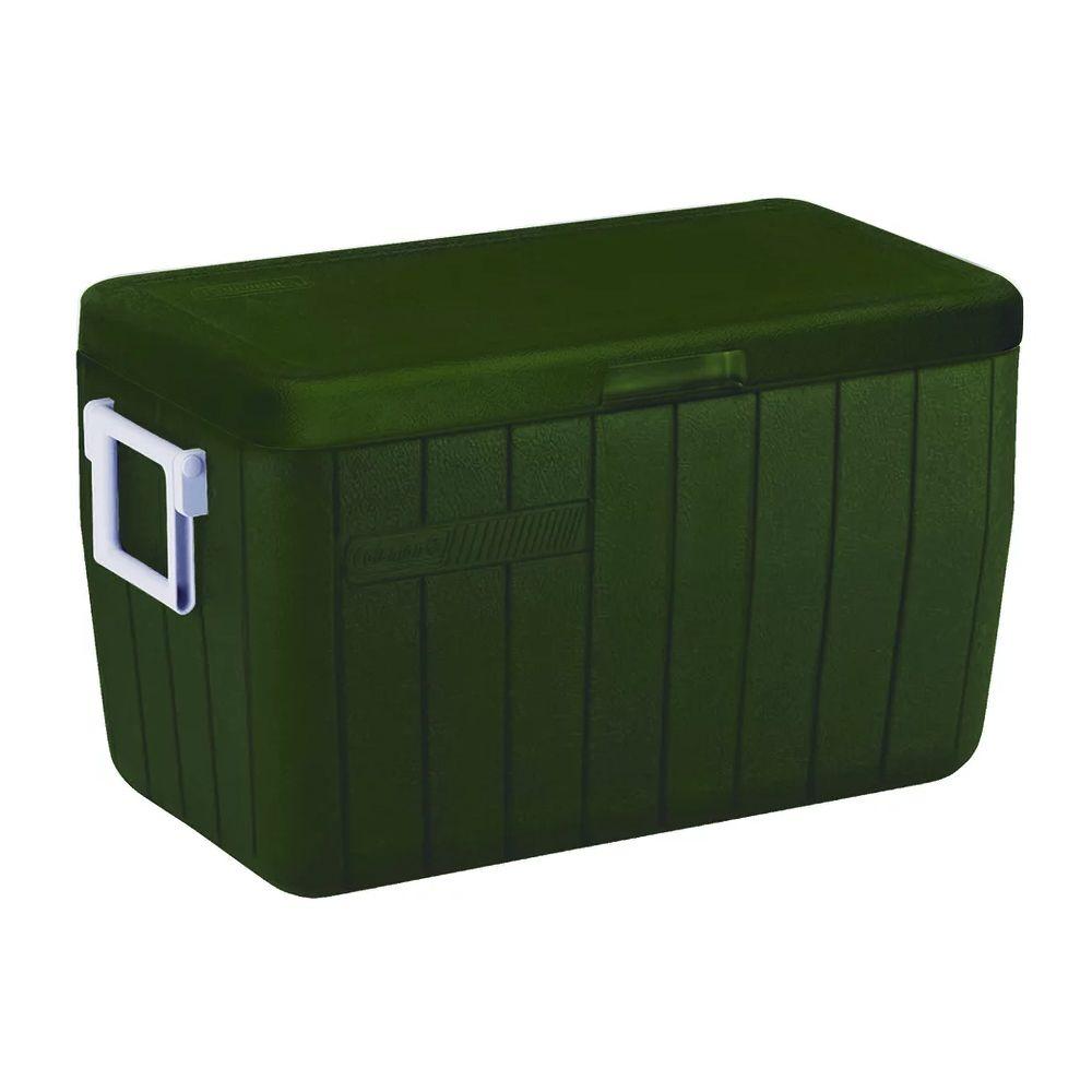Caixa Térmica Cooler Tampa Articulada Coleman Verde Militar 45,4L 63 Latas 48QT