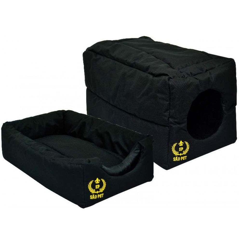 Cama para cães e gatos Caminha cachorro gato modelo Casinha Toca Tenda Tunel 2 em 1 São Pet 44X27X27 cm PRETA