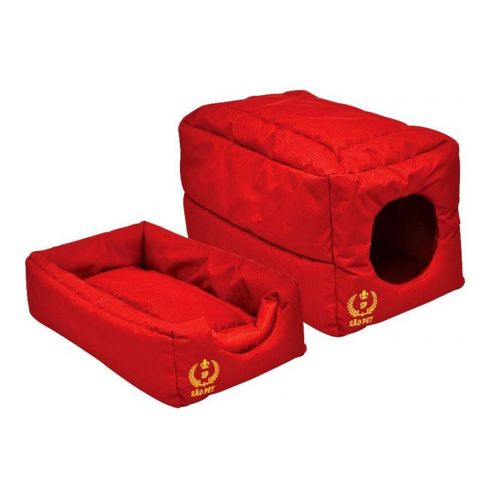 Cama para cães e gatos Caminha cachorro gato modelo Casinha Toca Tenda Tunel 2 em 1 São Pet 44X27X27 cm vermelha