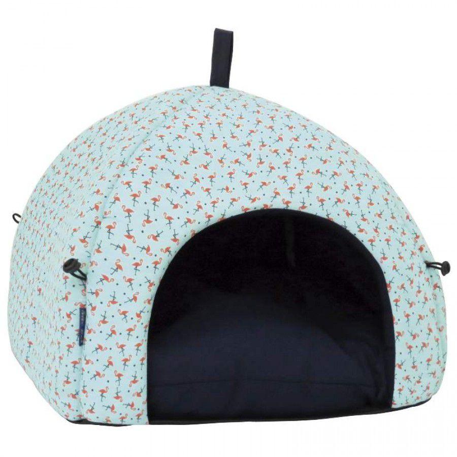 Cama para cães e gatos Caminha pet modelo Casinha Toca Tenda Oca Azul com flamingos 40X40X40CM São Pet