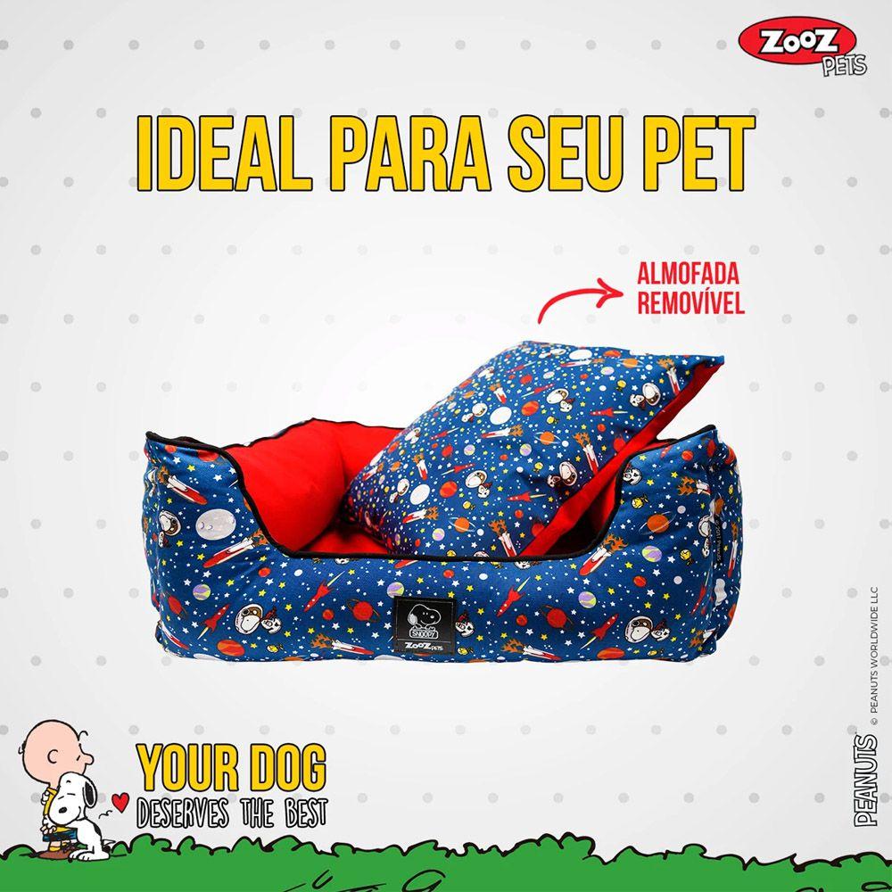 Caminha para Cachorro ou Gato Snoopy Modelo Astronauta P - Cama Zooz Pets Snoopy para Cães Tam P: 50cm X 40cm Snoopy