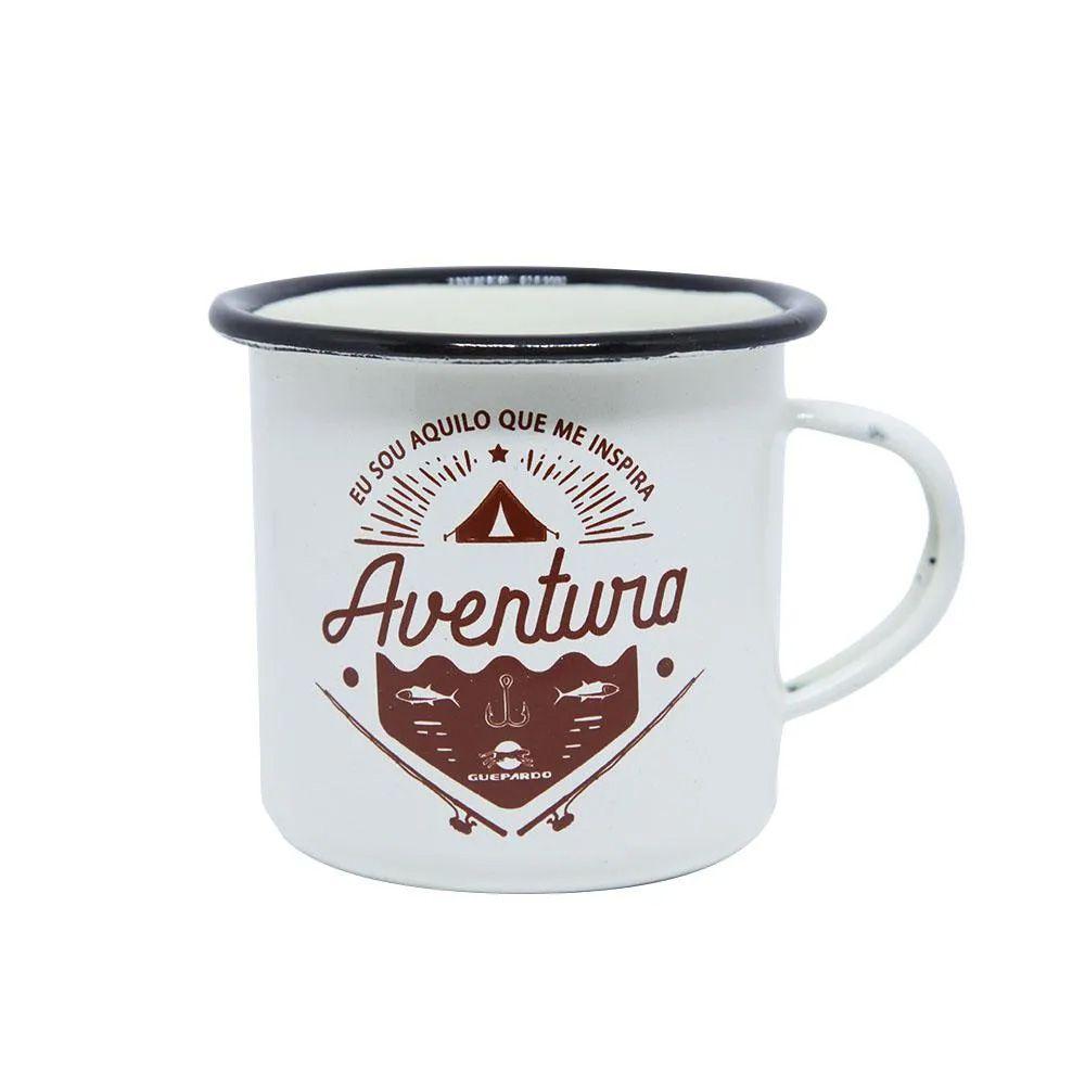 Caneca de alumínio Guepardo esmaltada Creme para Camping 240ml