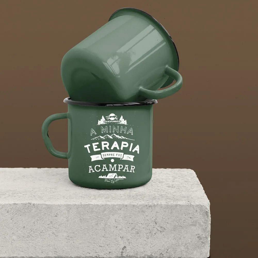 Caneca de alumínio Guepardo esmaltada Verde para Camping 240ml