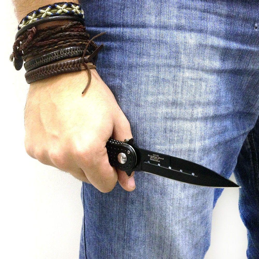 Canivete Automático Closer Nautika 20cm 124g Lâmina Preta com Bainha NTK