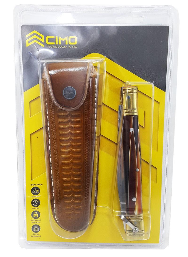 Canivete Cimo Inox Latão e Acrílico 330/P c/ bainha