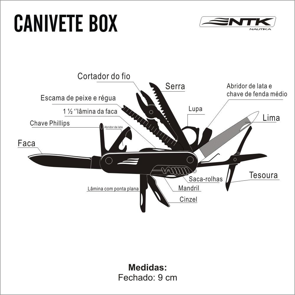 Canivete Multifunções Box Nautika 18 funções Multi Ferramentas