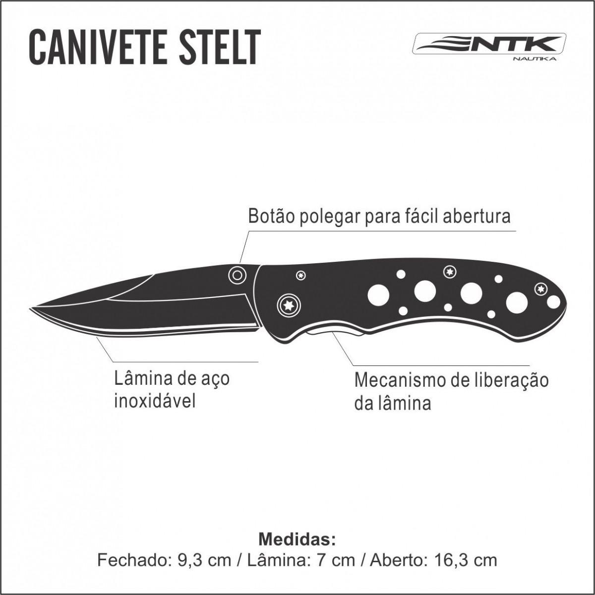 Canivete Ntk Stelt Pesca Caça Trilha Camping Aventura Inox - Nautika