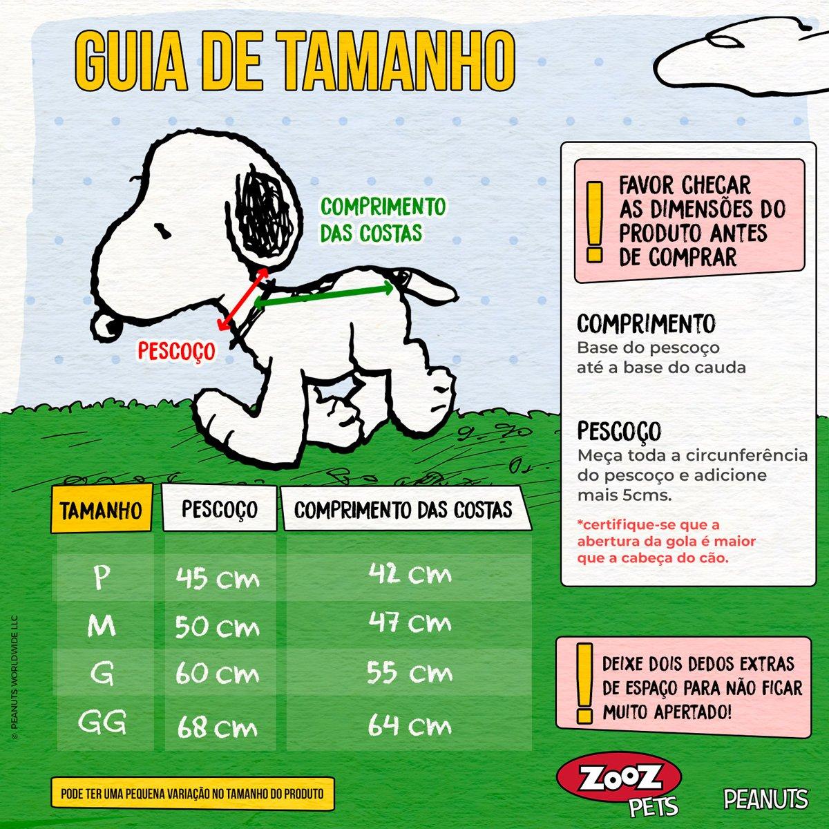 Capa de Chuva para cachorro cães Snoopy Edição 50 anos Zooz Pets