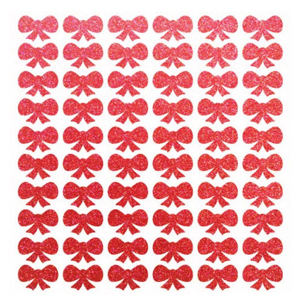 Cartela de adesivo brilhante enfeite cães gatos Laço Vermelho glitter para colar no pelo de cachorro ou gato 60 unidades 1cm