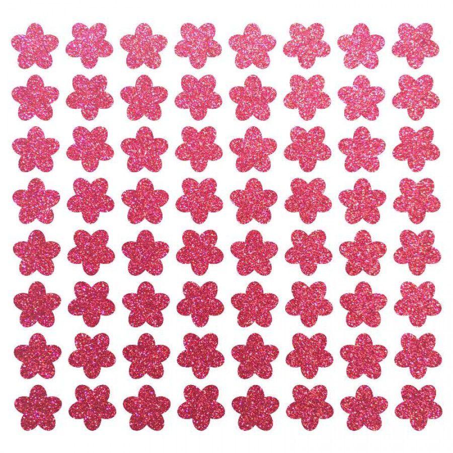Cartela de adesivo para enfeite Cães Florzinha pink com gliter para colar no pelo de cachorro ou gato 64 unidades 1cm