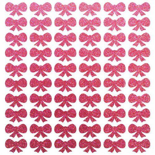 Cartela de adesivo brilhante enfeite cães gatos Laço Pink glitter para colar no pelo de cachorro ou gato 60 unidades 1cm