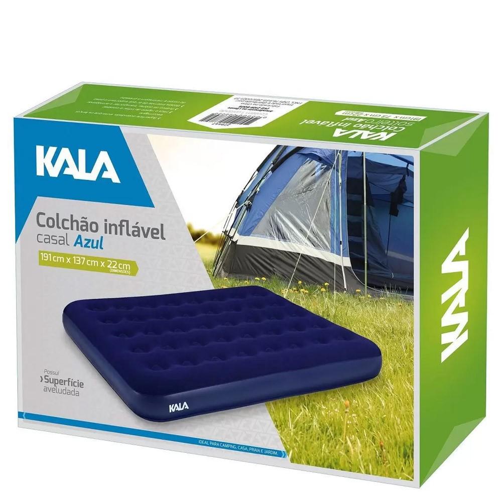 Colchão Inflável Casal Kala- Colchão de ar aveludado para acampamento, casa, sítio, etc