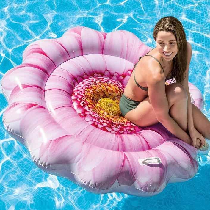 Colchão Inflável Para Piscina Boia colorida Flor de Margarida pink flower INTEX 58787