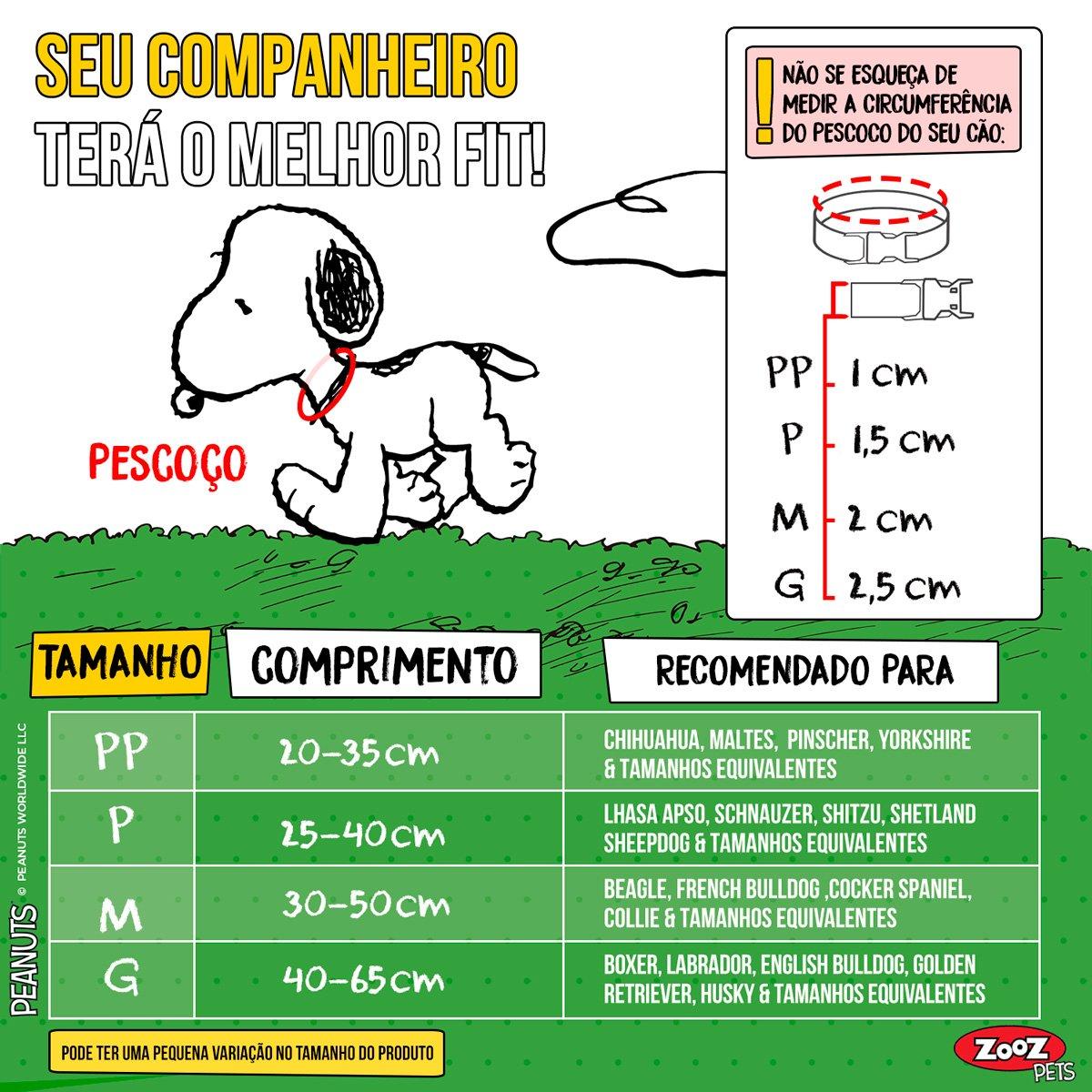 Coleira para Cachorro Snoopy Joe Cool Quadrinhos Zooz Pets
