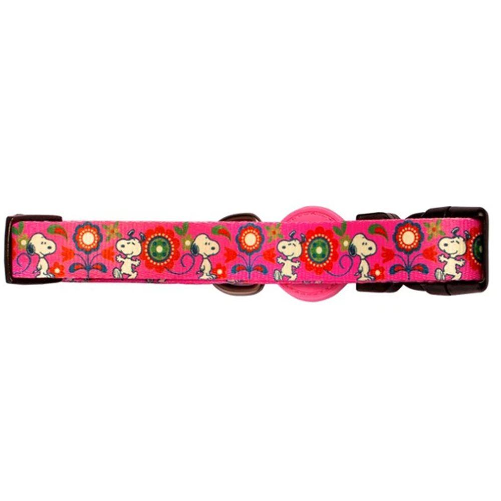 Coleira para cachorro Snoopy Pink Rosa Pink Flower tamanho G (Ajustável 40 - 65cm) Zooz Pets
