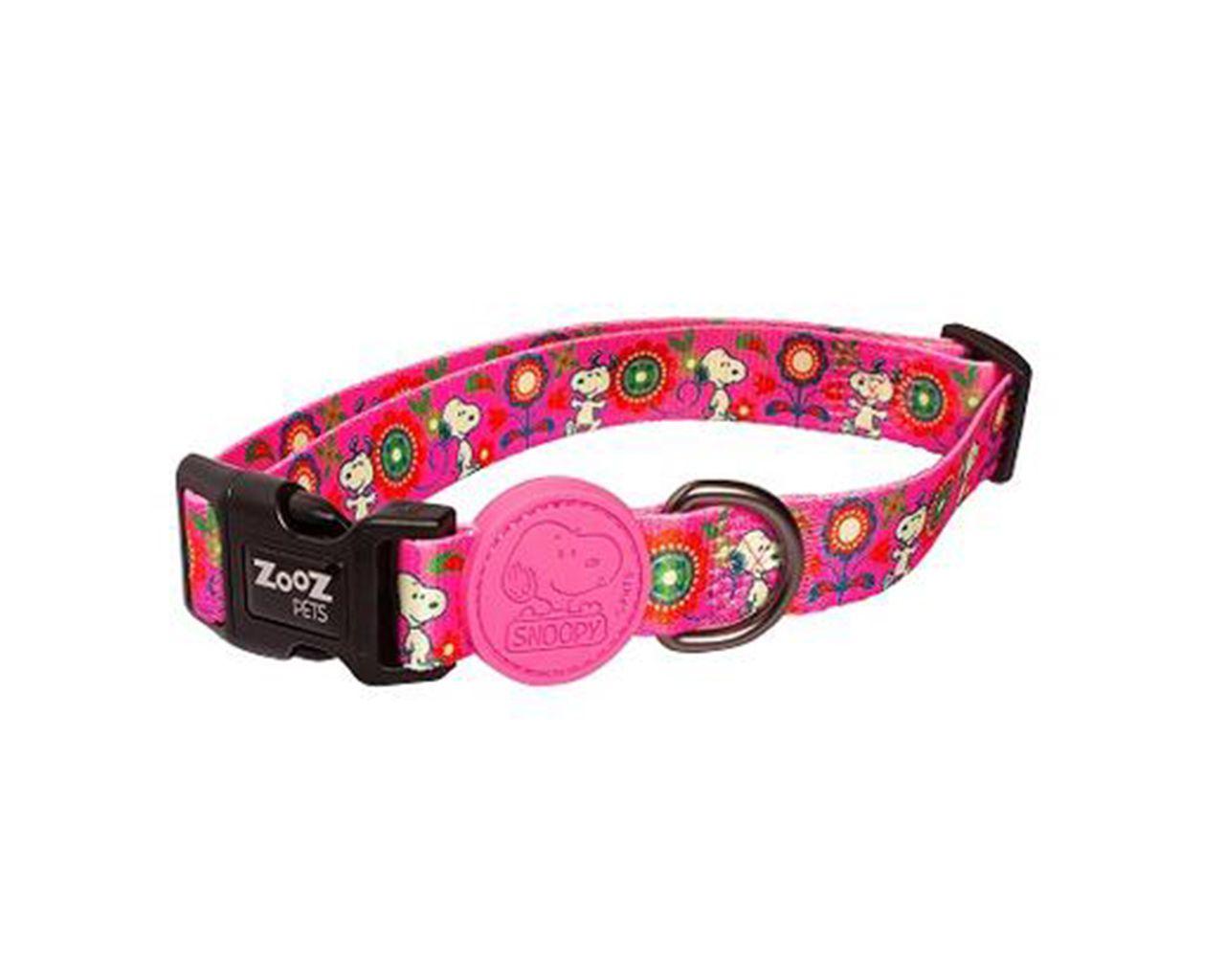 Coleira para cachorro Zooz Pets Snoopy Pink Flower tamanho M (Ajustável 30 - 50cm)