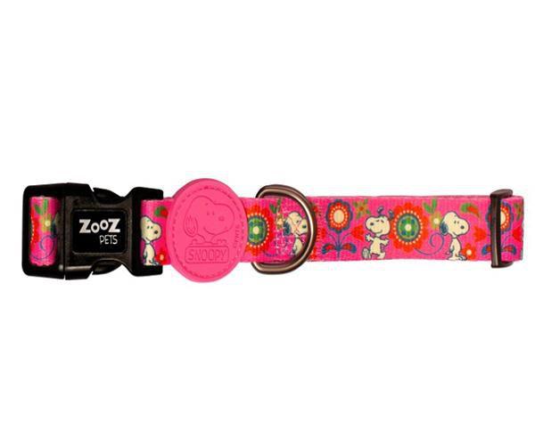 Coleira para cachorro Snoopy Pink Rosa Pink Flower tamanho M (Ajustável 30 - 50cm) Zooz Pets