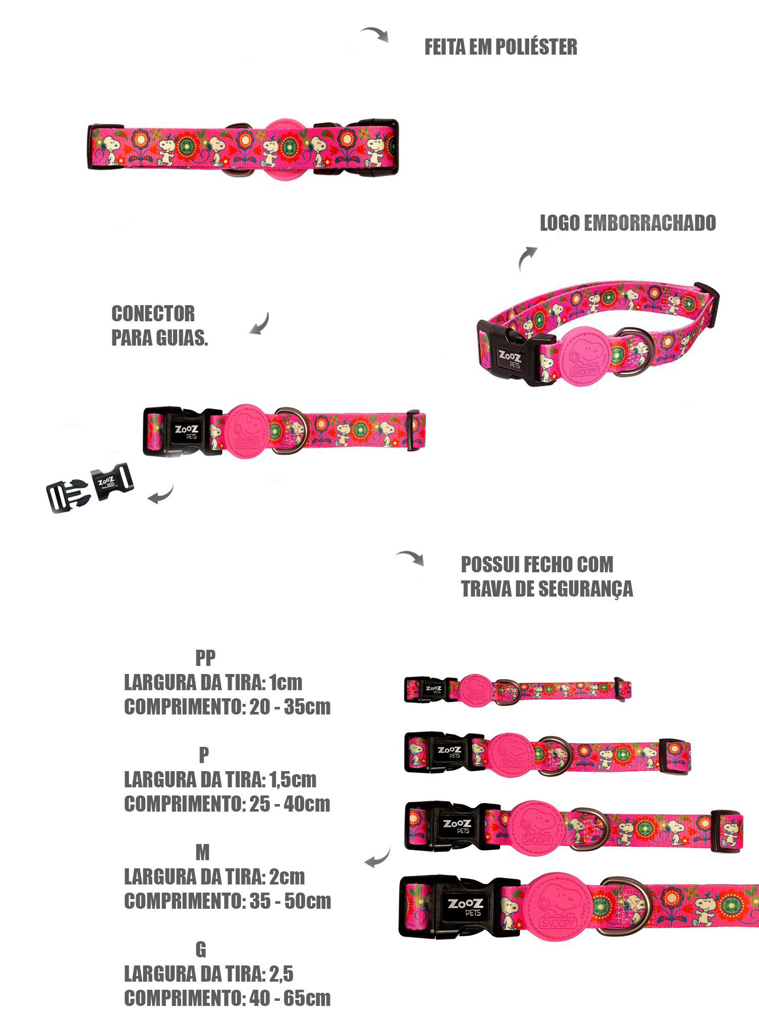 Coleira para cachorro Snoopy Pink Rosa Pink Flower tamanho P (Ajustável 25 - 40cm) Zooz Pets