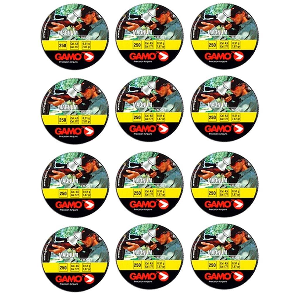 Combo 12 latas Chumbinho de penetração Gamo Magnum 4,5mm 250un cada lata