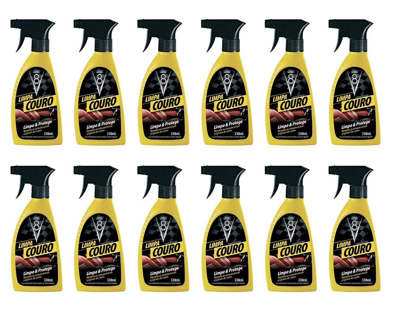 Combo 12 Limpa Couro Gatilho Spray - Potente Limpador Bancos em Couro, Estofados De Couro Spray Sanol V8 330ml