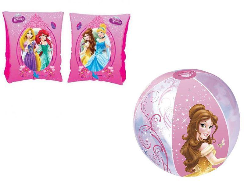 Combo 1 par de Boia de Braço inflável para crianças + Bola inflável 51cm Princesas Disney