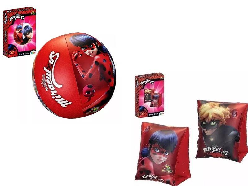 Combo 1 par de Boia de Braço inflável para crianças + Bola inflável 51cm Ladybug Cat Noir Miraculous