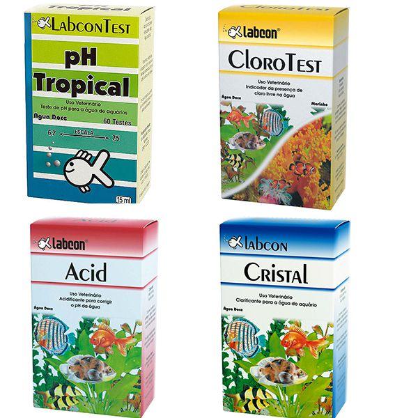 Combo 1 Produtos para testar e tratar água de aquário Labcon: Teste de Cloro, Teste de PH, Acid (correção PH) e Cristal