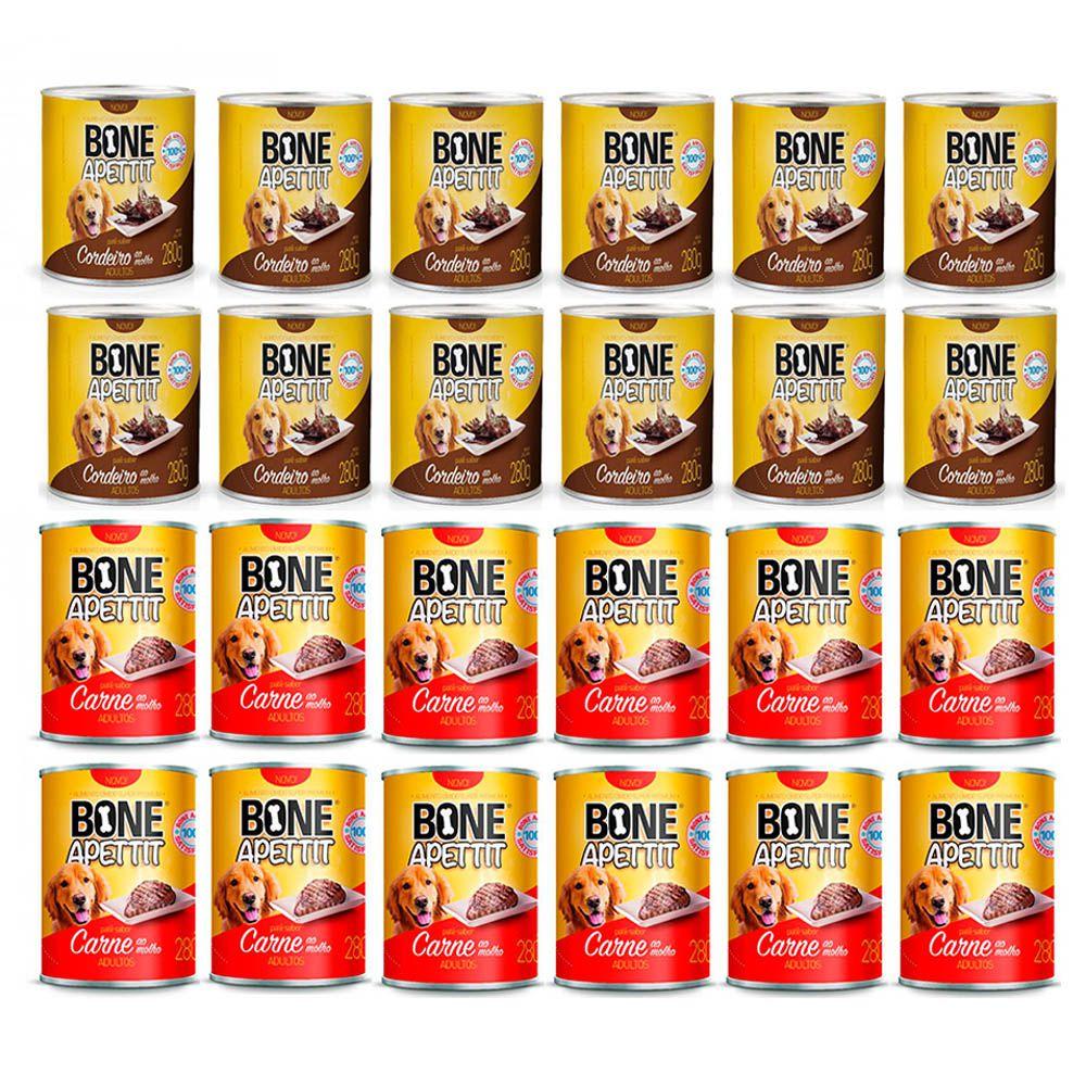 Combo 24 Latas Alimento Úmido para Cães Patê 12un Carne, 12un Cordeiro Bone Apettit