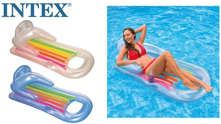 Combo 2 Colchão Boia inflável para piscina King Cool C/ Encosto (160 X 85Cm) Incolor e Azul 58802
