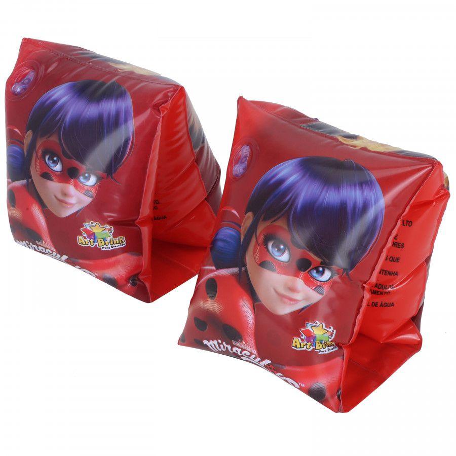 Combo 2 pares de Boia de Braço inflável para crianças Ladybug Cat Noir Miraculous