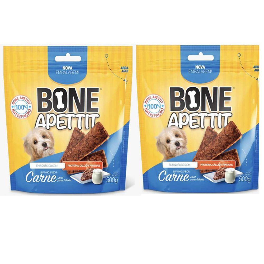 Combo 2 unidades Bifinho Flexível Petisco para Cachorros filhotes Carne com leite Bone Apettit Cães Filhotes 500g