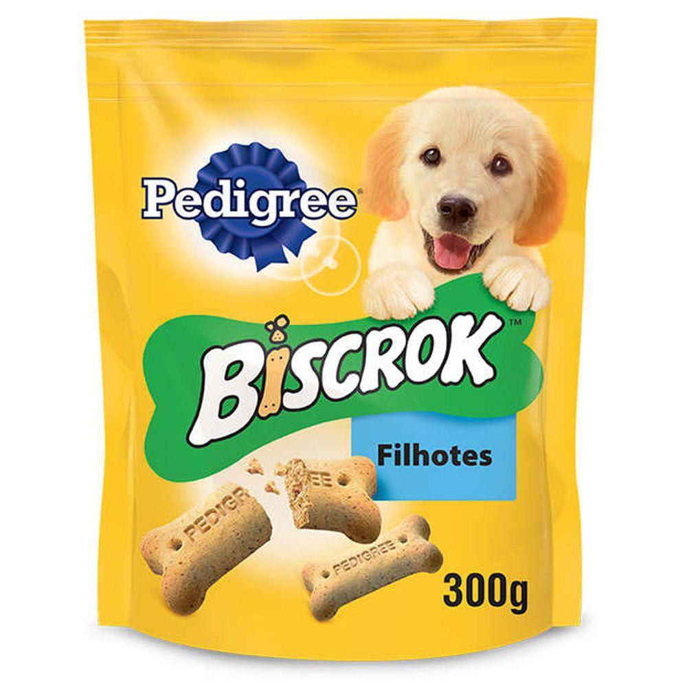 Combo 3 Pacotes de biscrok cães filhotes - Biscoito Pedigree para cachorro 300g cada