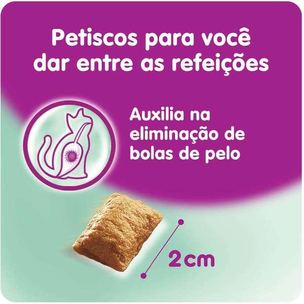 Combo 3 Petisco Whiskas Temptations Antibola de Pelo para Gatos Adultos - 40 g Potinho formato de rosto de gato